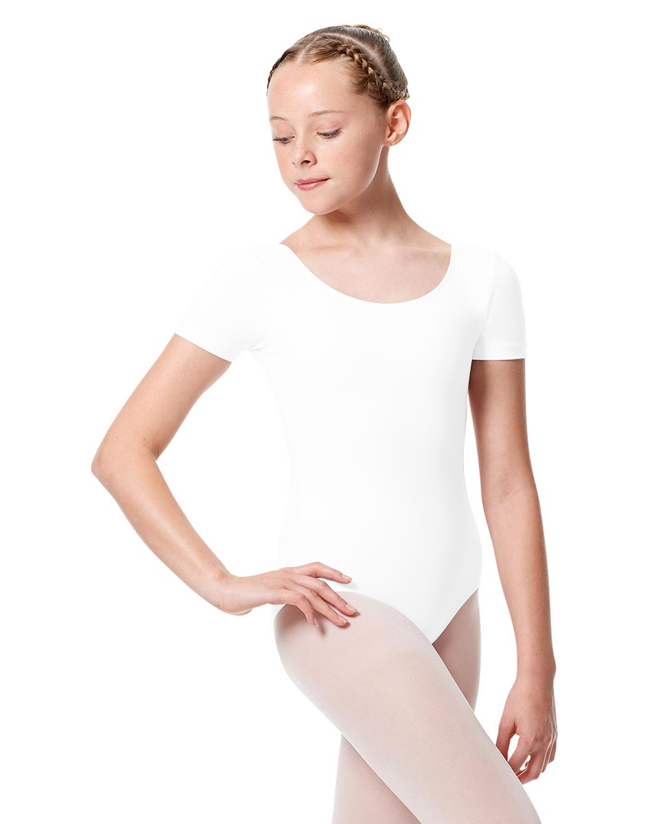 Girls Short Sleeve Leotard Tina WHI