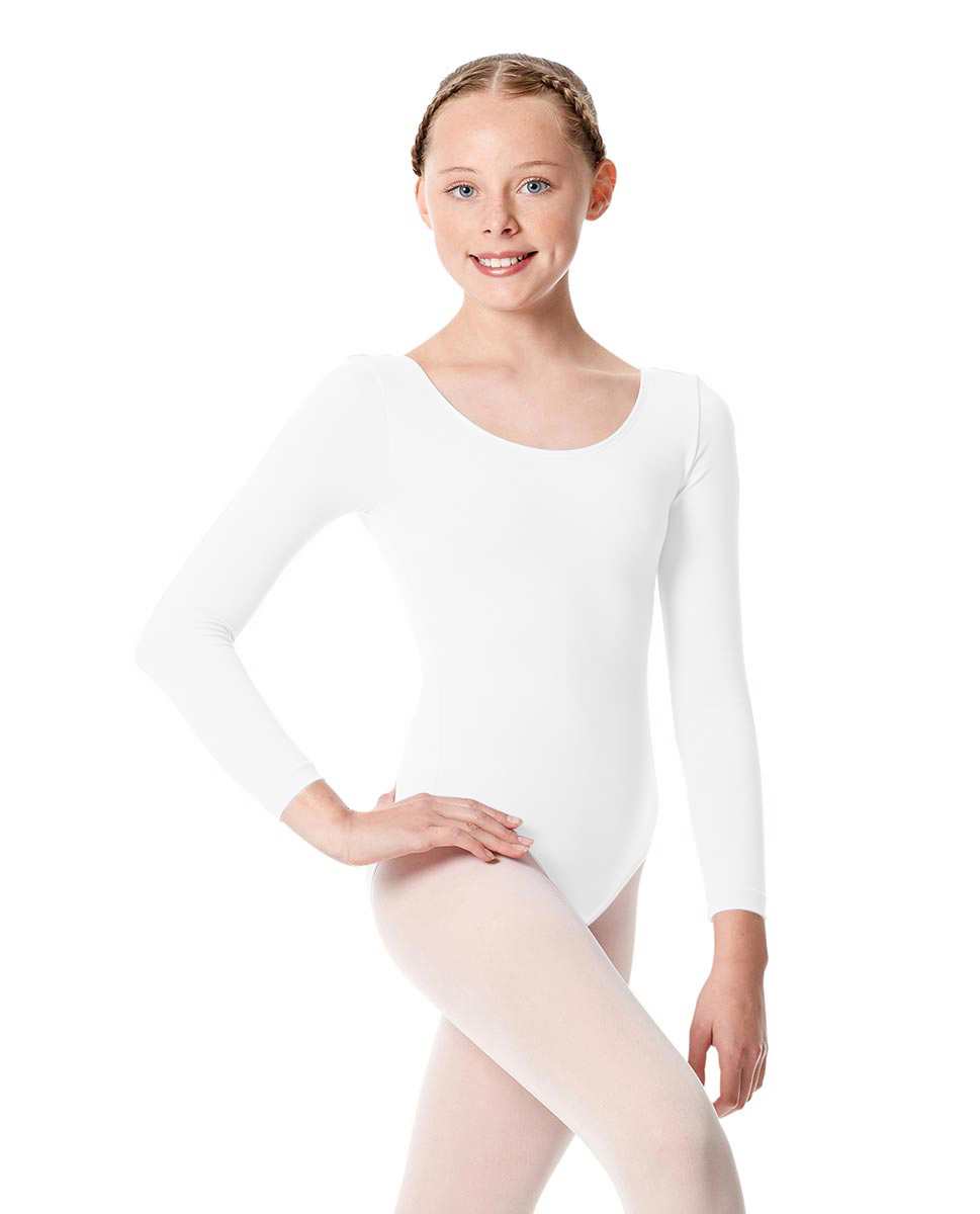 Girls Long Sleeve Leotard Martha WHI