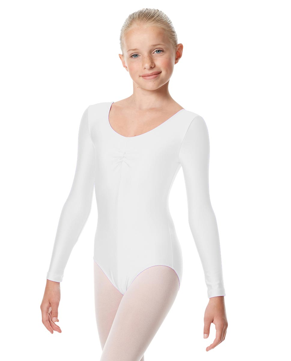 Girls Long Sleeve Ballet Leotard Giselle WHI