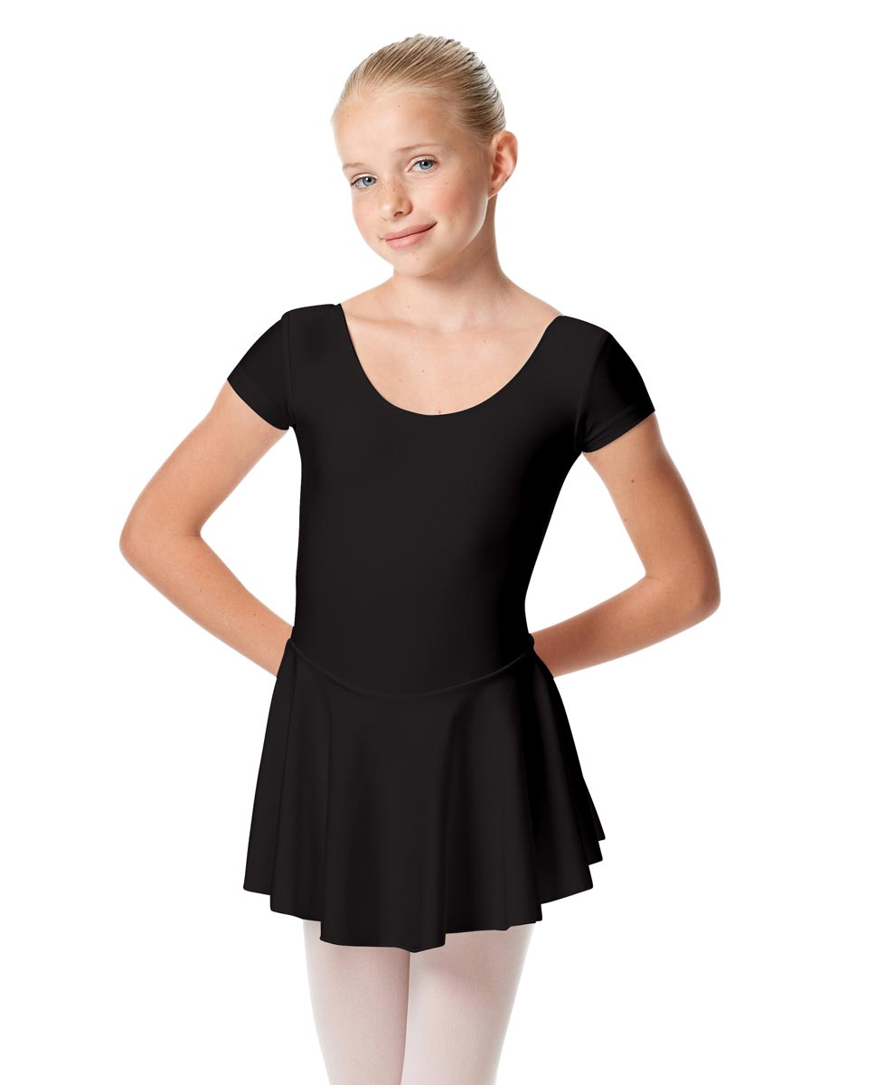 Girls Cap Sleeve Skirted Leotard Emmy BLK