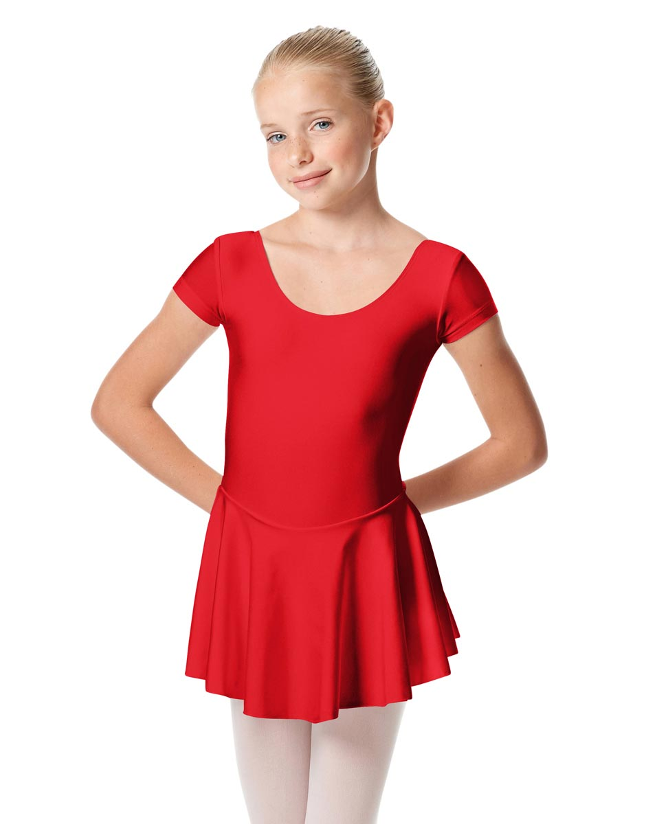 Girls Cap Sleeve Skirted Leotard Emmy RED