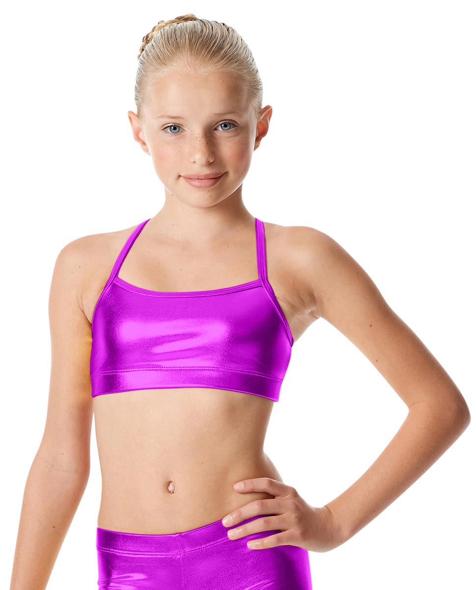 Girls Metallic Crop Top Antonia PUR