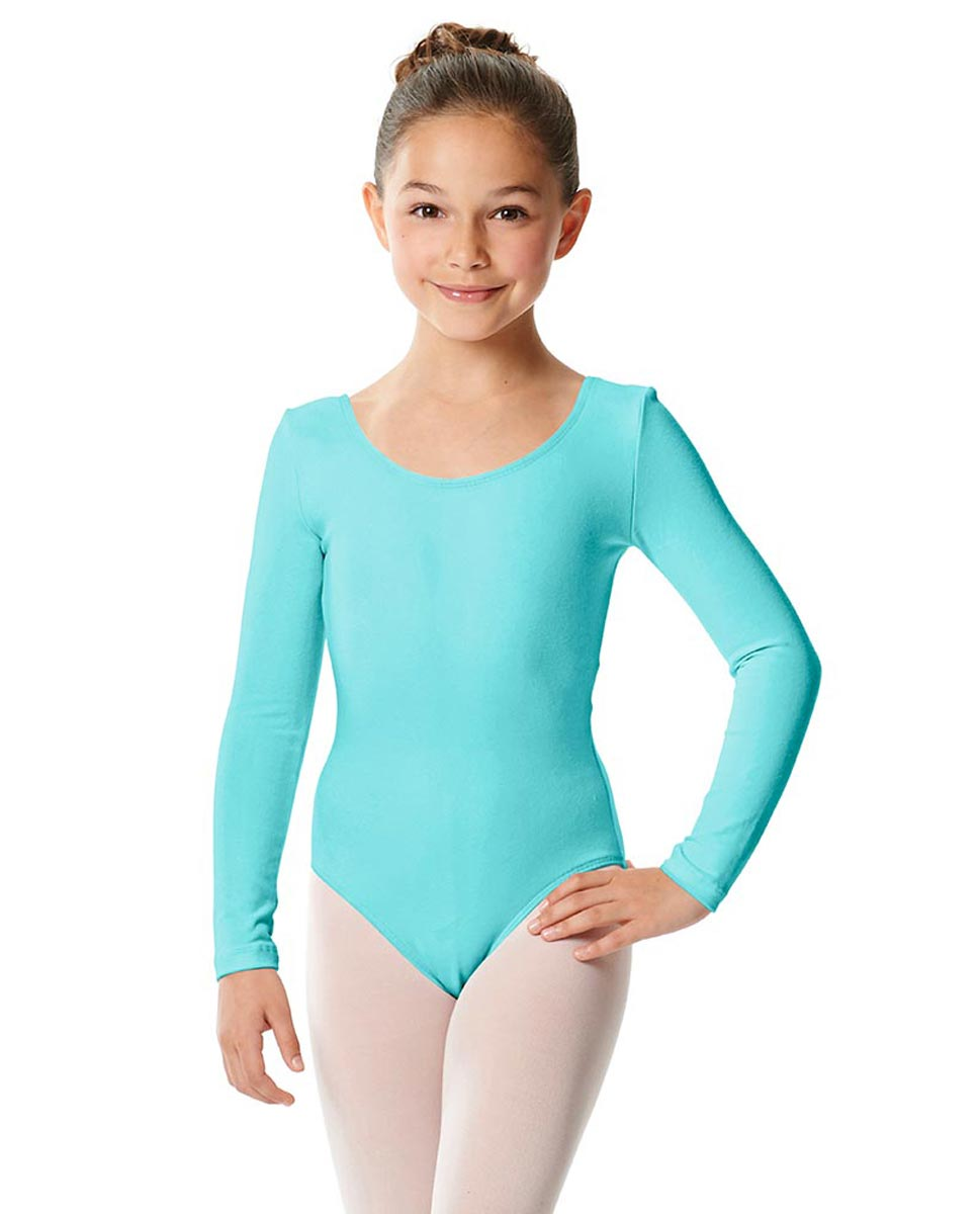 Girls Long Sleeve Cotton Ballet Leotard Liv AQU