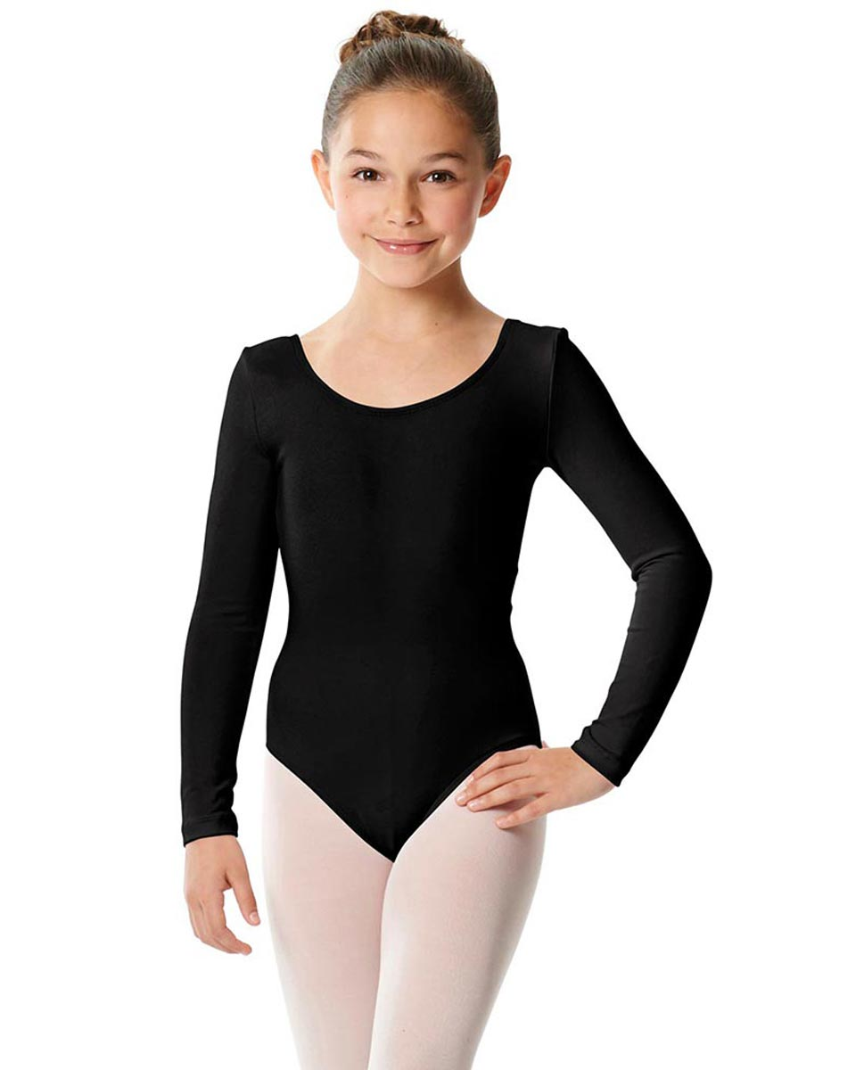 Girls Long Sleeve Cotton Ballet Leotard Liv BLK