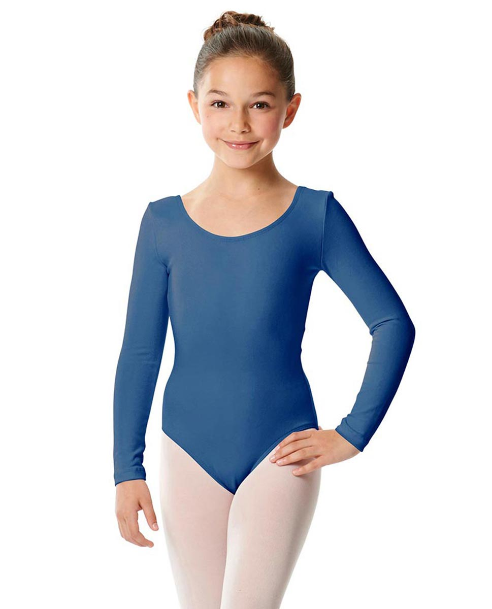 Girls Long Sleeve Cotton Ballet Leotard Liv BLUE