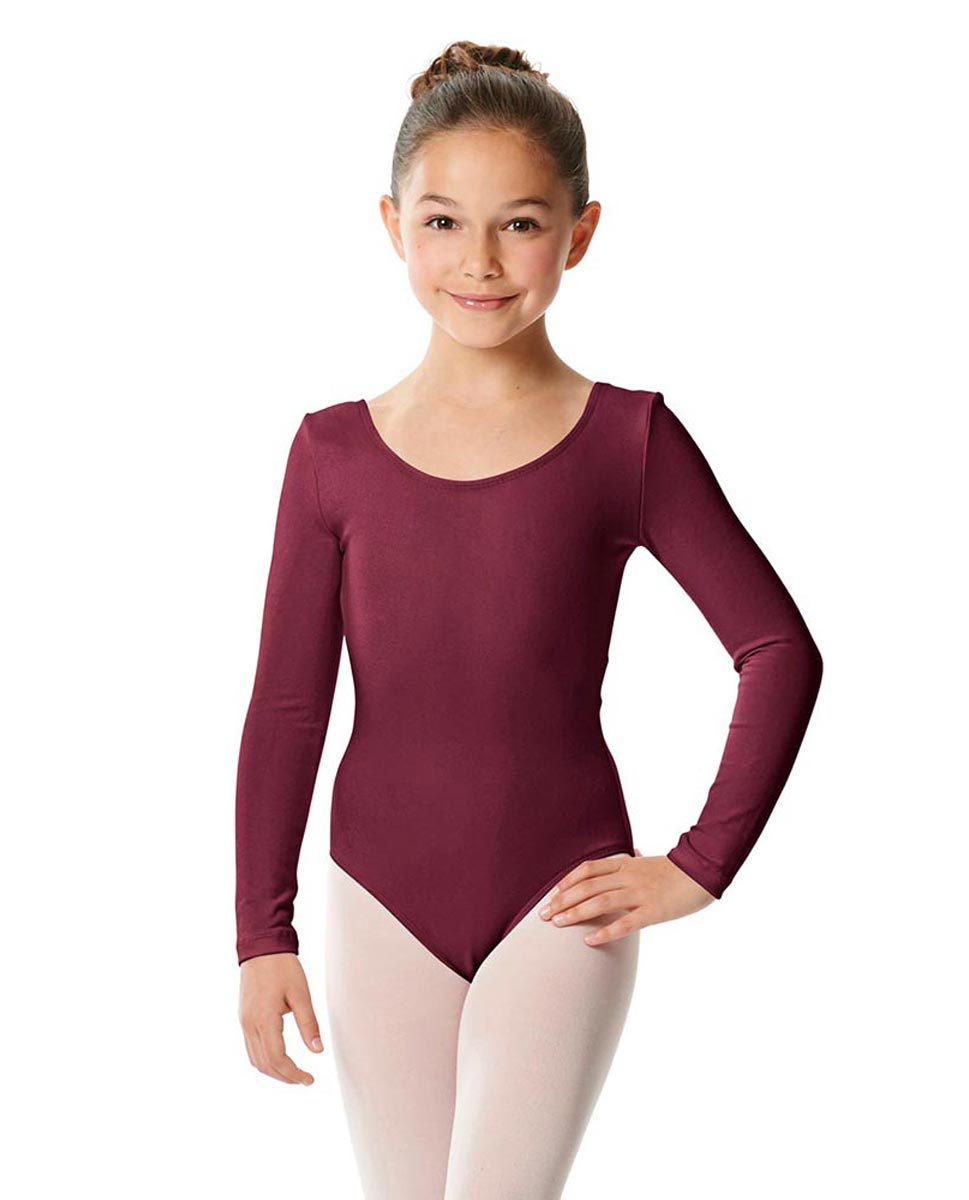 Girls Long Sleeve Cotton Ballet Leotard Liv BUR