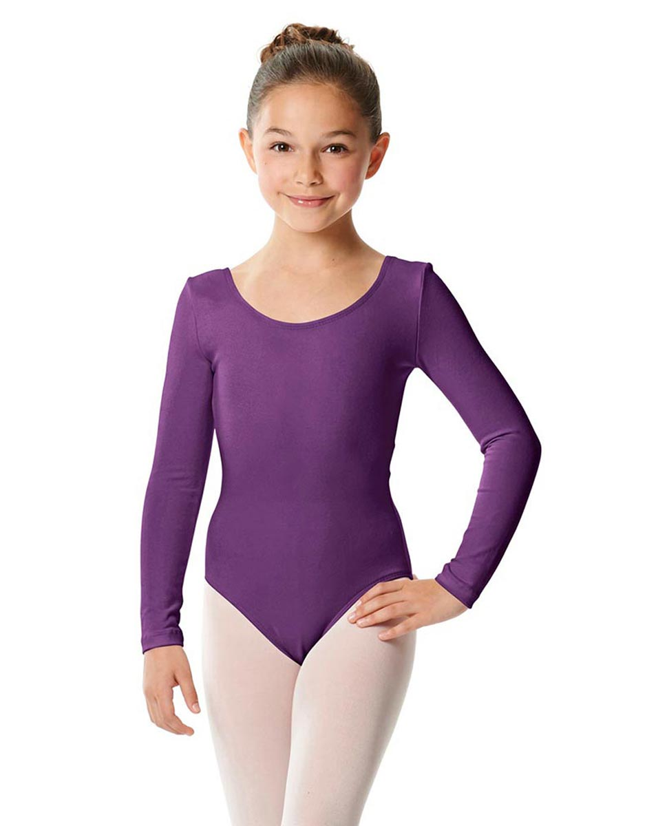 Girls Long Sleeve Cotton Ballet Leotard Liv GRAP