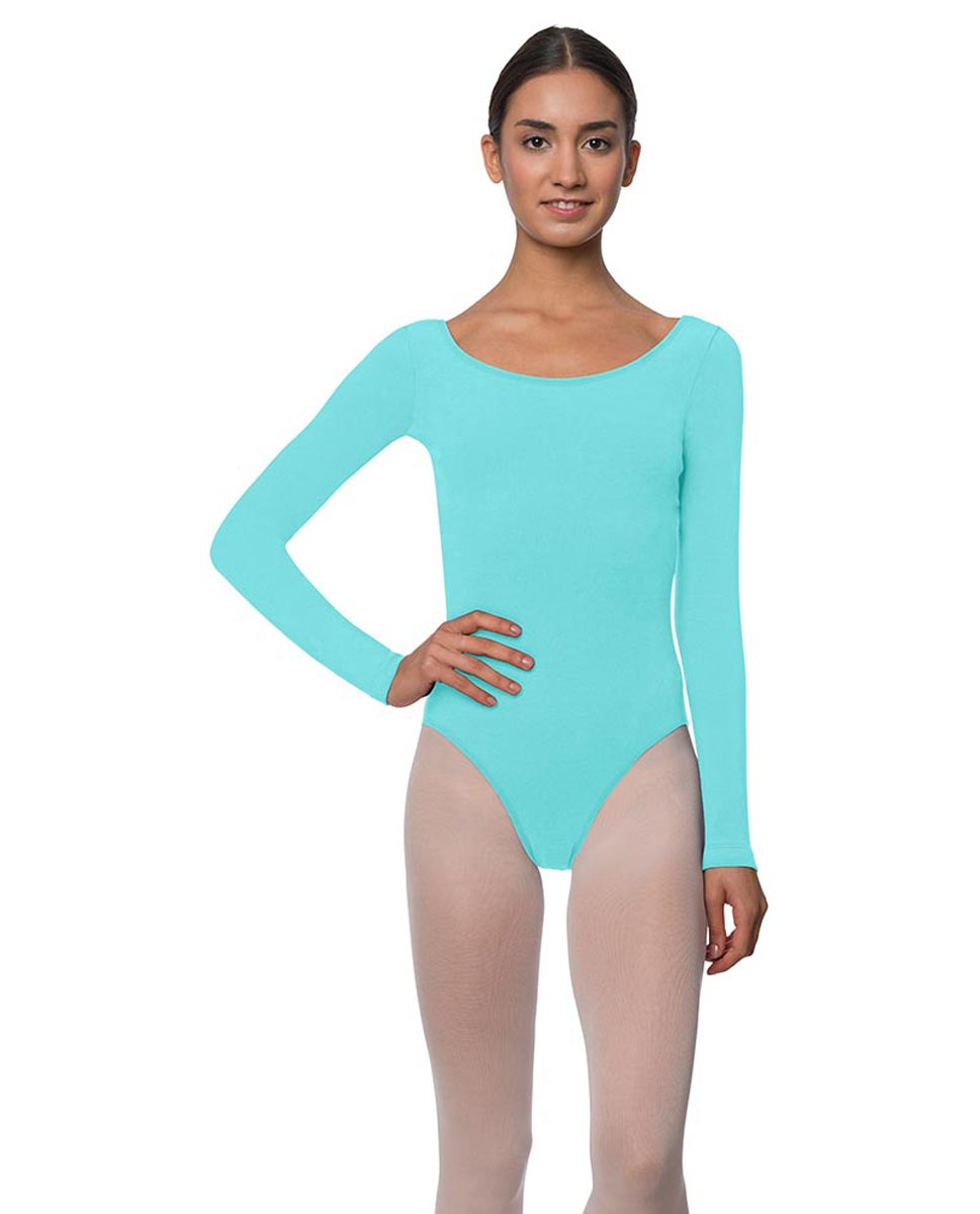 Long Sleeve Cotton Ballet Leotard Liv AQU