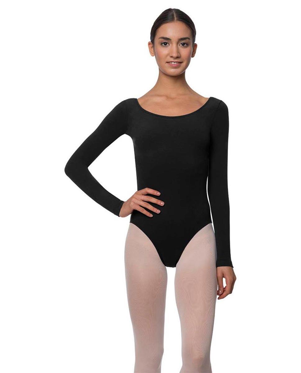 Long Sleeve Cotton Ballet Leotard Liv BLK