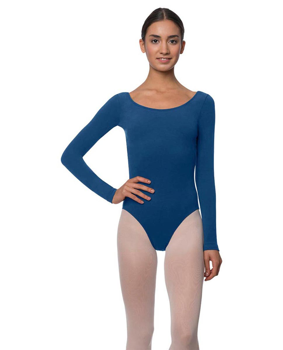 Long Sleeve Cotton Ballet Leotard Liv BLUE