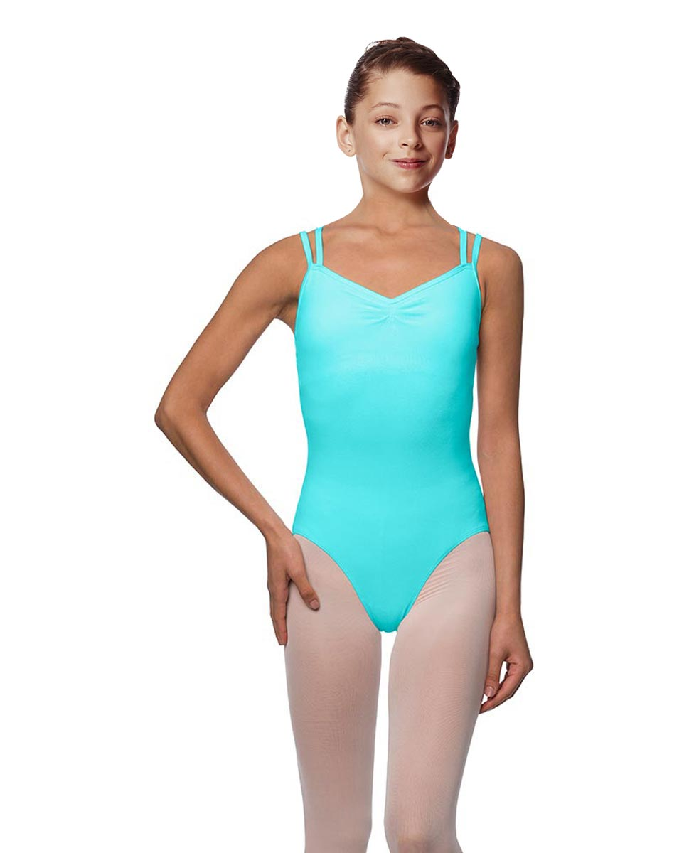 Girls Camisole Brushed Cotton Leotard Lora AQU