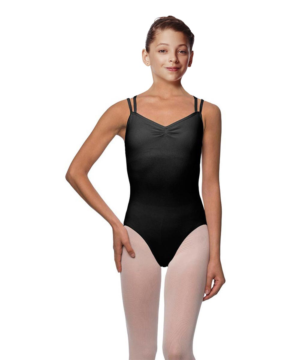 Girls Camisole Brushed Cotton Leotard Lora BLK