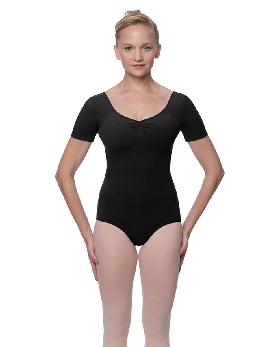 Short Sleeve Cotton Dance Leotard Mckenzie BLK