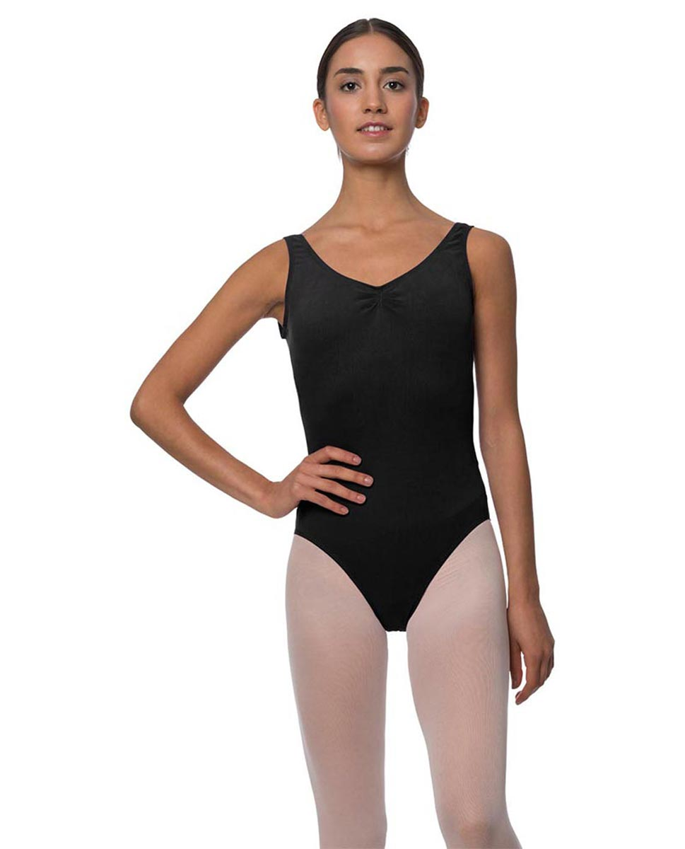 Tank Gathered Cotton Dance Leotard Luna BLK