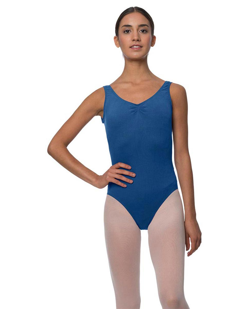 Tank Gathered Cotton Dance Leotard Luna BLUE