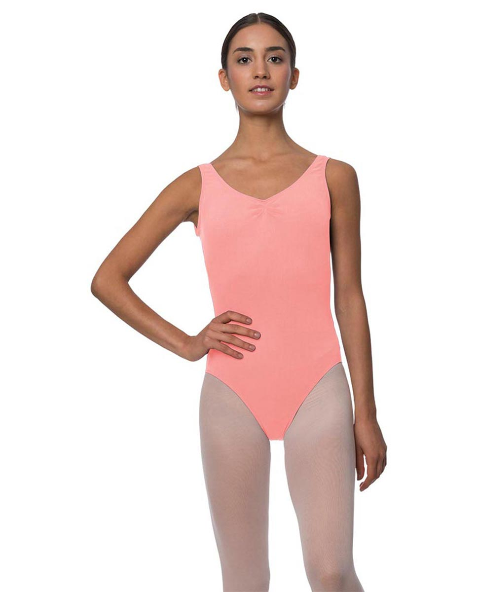 Tank Gathered Cotton Dance Leotard Luna PEAC