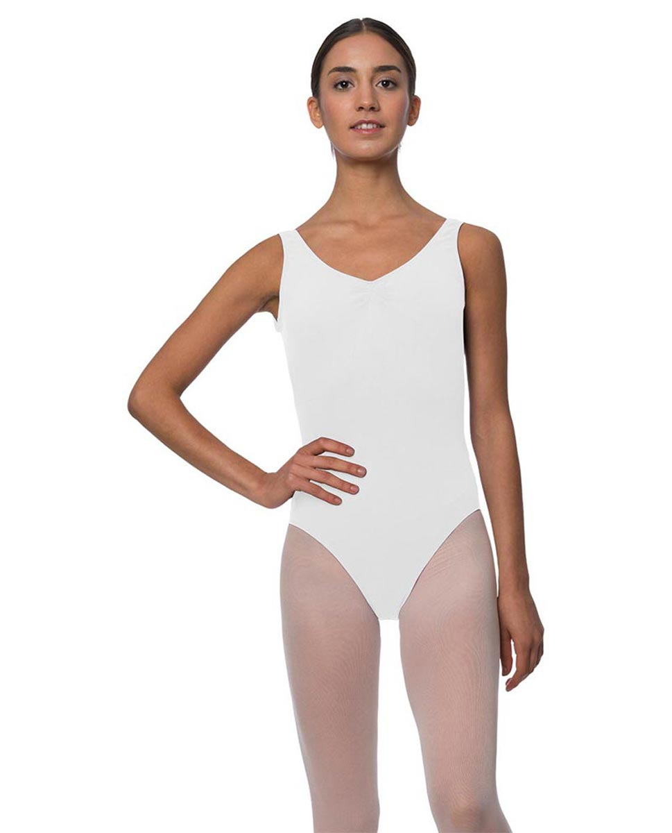Tank Gathered Cotton Dance Leotard Luna WHI
