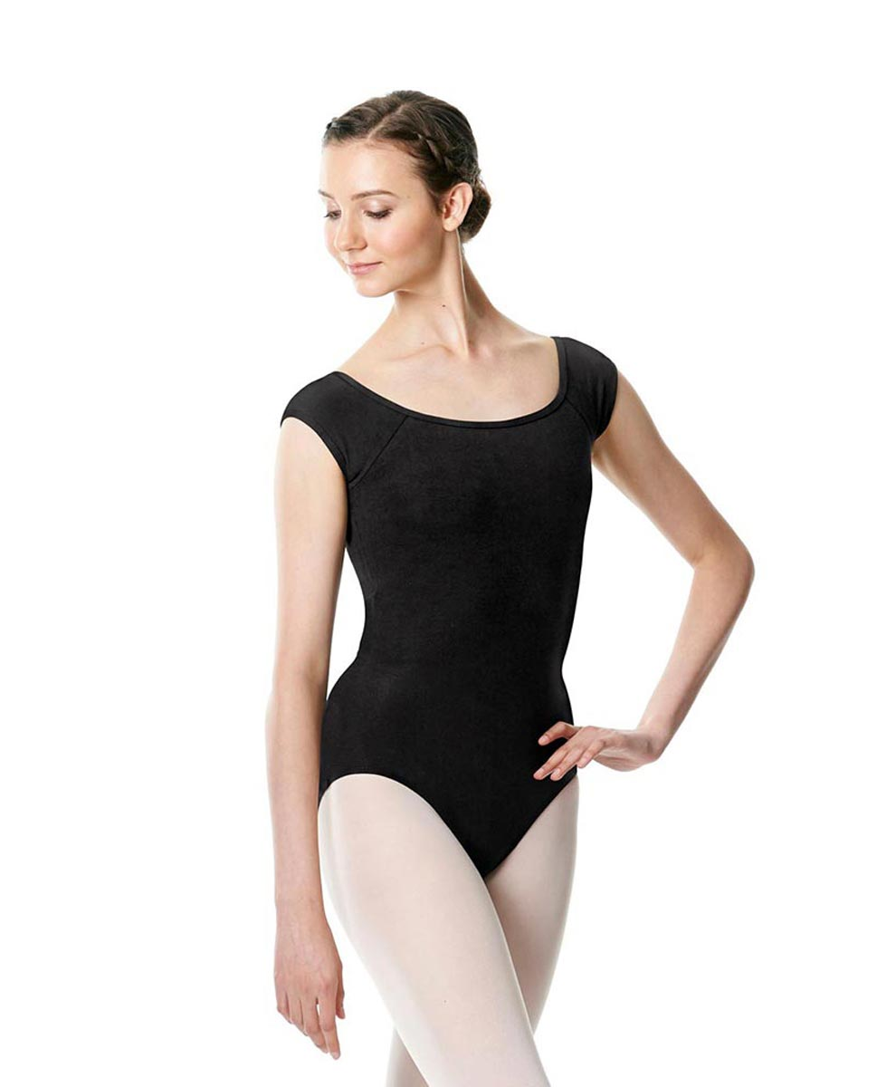 Brushed cotton Cap Sleeve Dance Leotard Dinah BLK