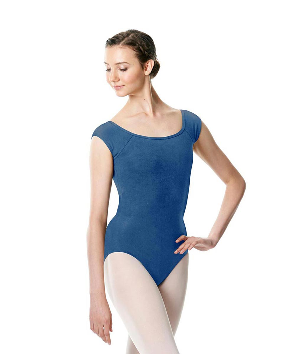 Brushed cotton Cap Sleeve Dance Leotard Dinah BLUE