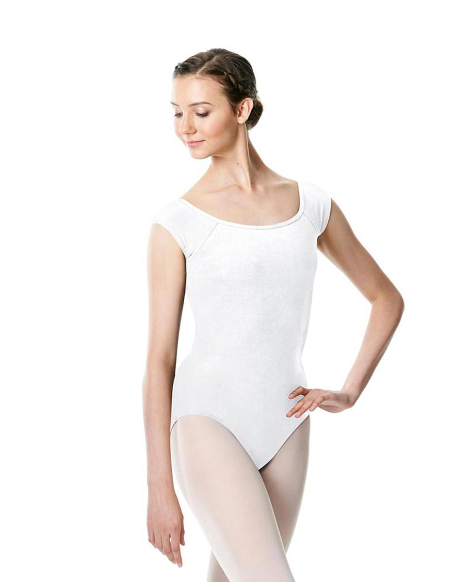 Brushed cotton Cap Sleeve Dance Leotard Dinah WHI