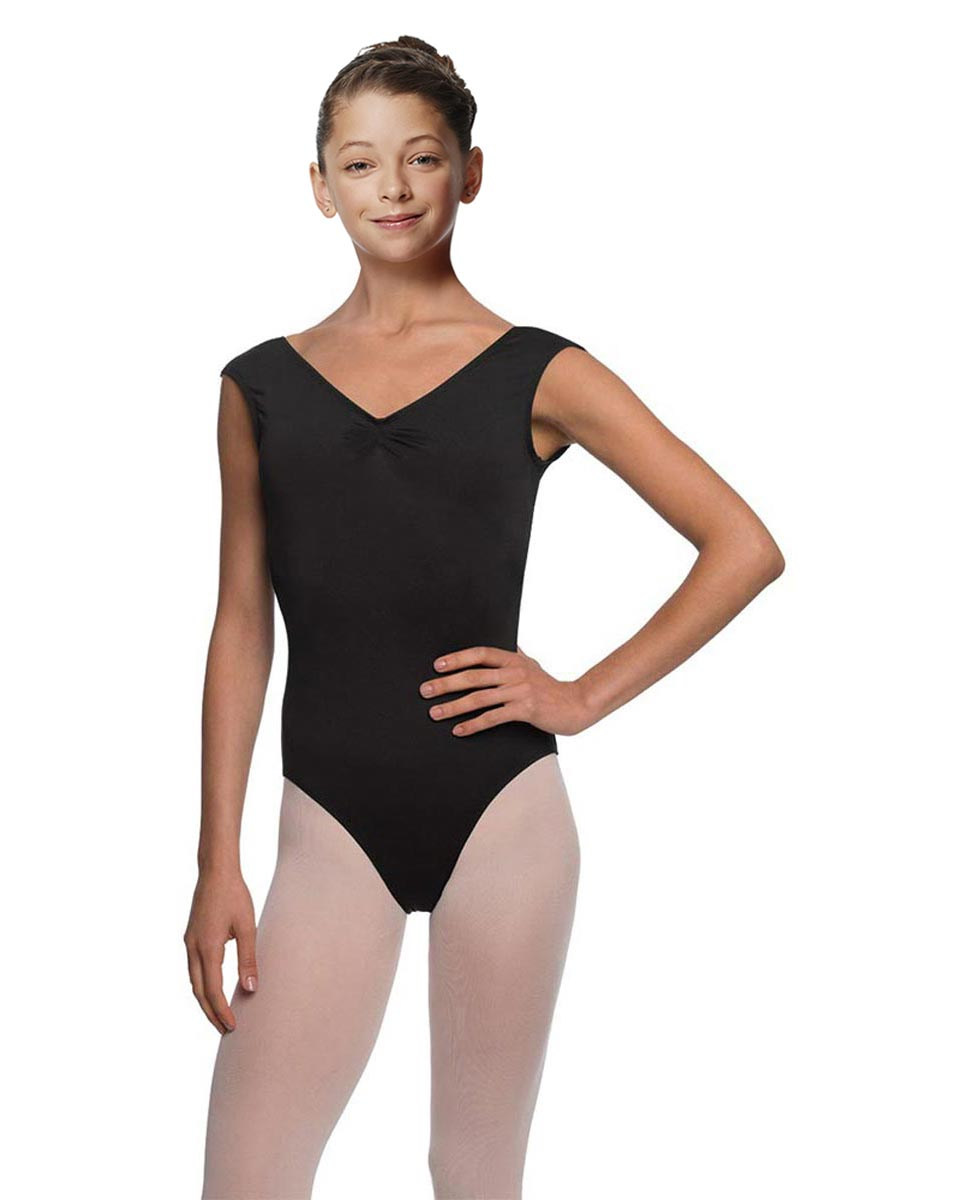 Girls Pinch Front Cap Sleeve Leotard Peyton BLK