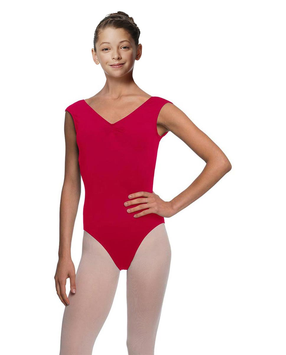 Girls Pinch Front Cap Sleeve Leotard Peyton DRED