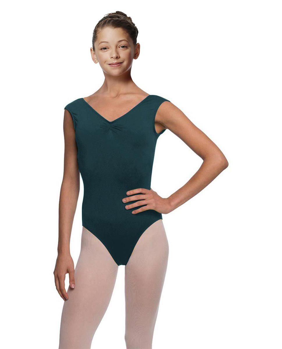 Girls Pinch Front Cap Sleeve Leotard Peyton DTEAL
