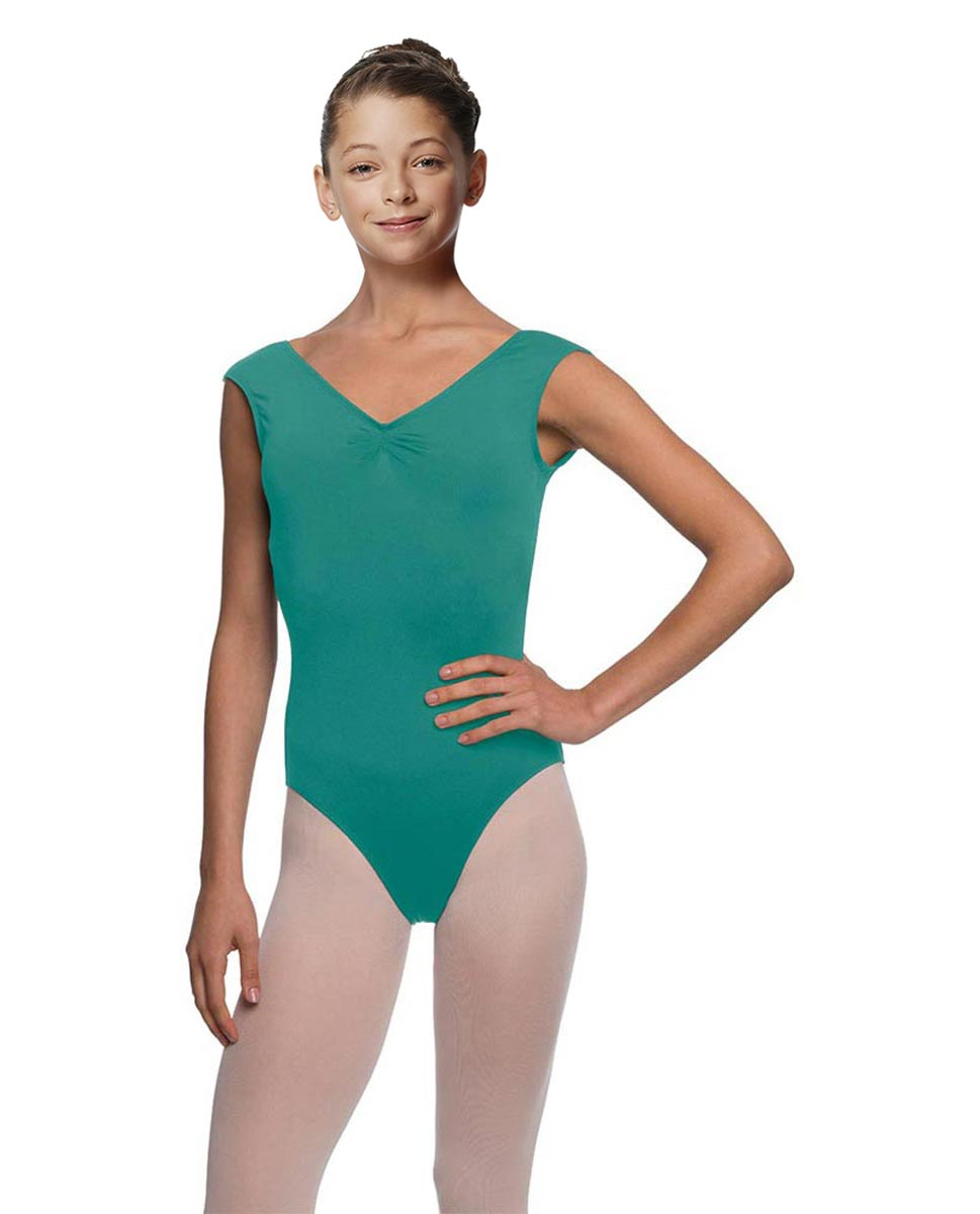 Girls Pinch Front Cap Sleeve Leotard Peyton JAD