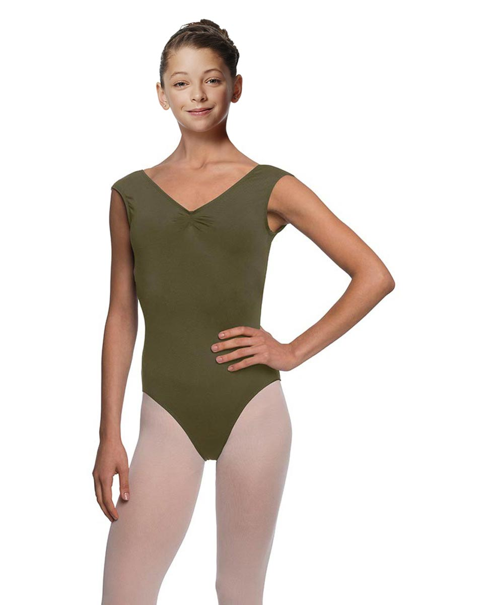 Girls Pinch Front Cap Sleeve Leotard Peyton KHA