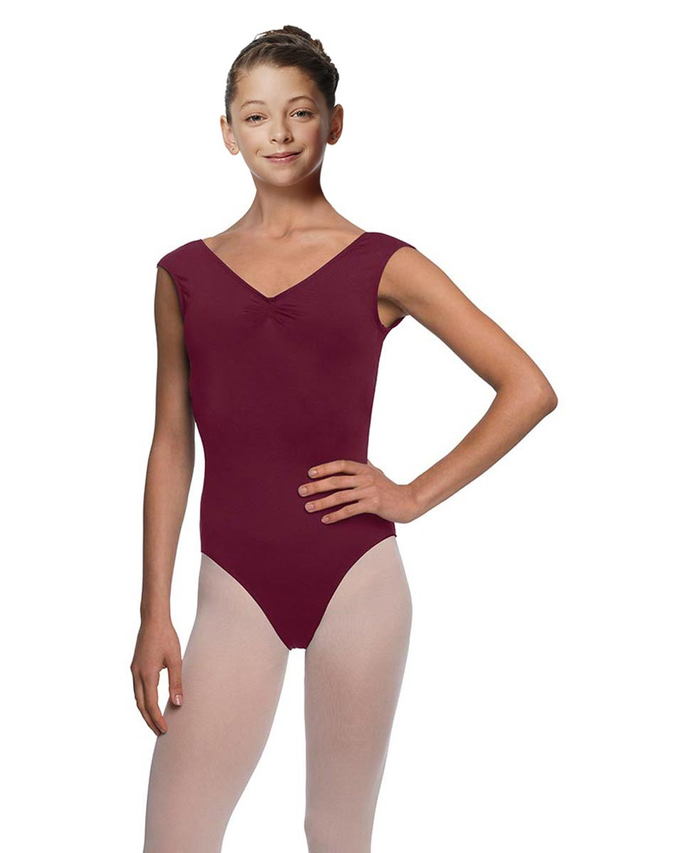 Girls Pinch Front Cap Sleeve Leotard Peyton WINE