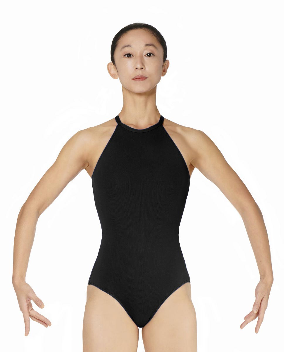 Halter Neck Microfiber Performance Leotard Ivana BLK