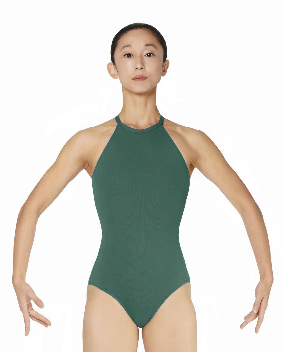 Halter Neck Microfiber Performance Leotard Ivana DGREEN