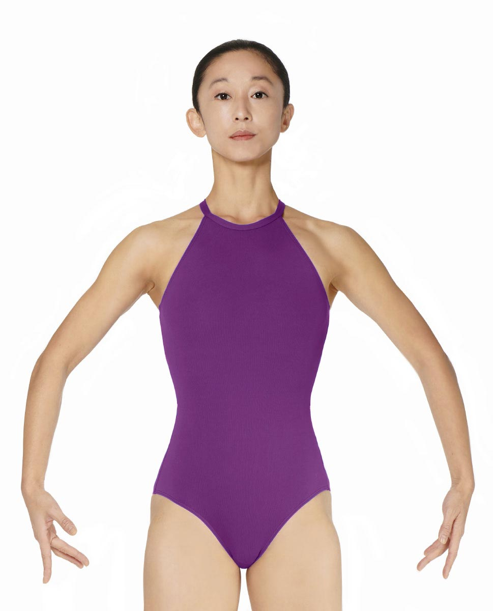 Halter Neck Microfiber Performance Leotard Ivana GRAP