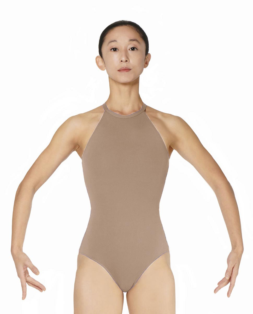 Halter Neck Microfiber Performance Leotard Ivana NUD