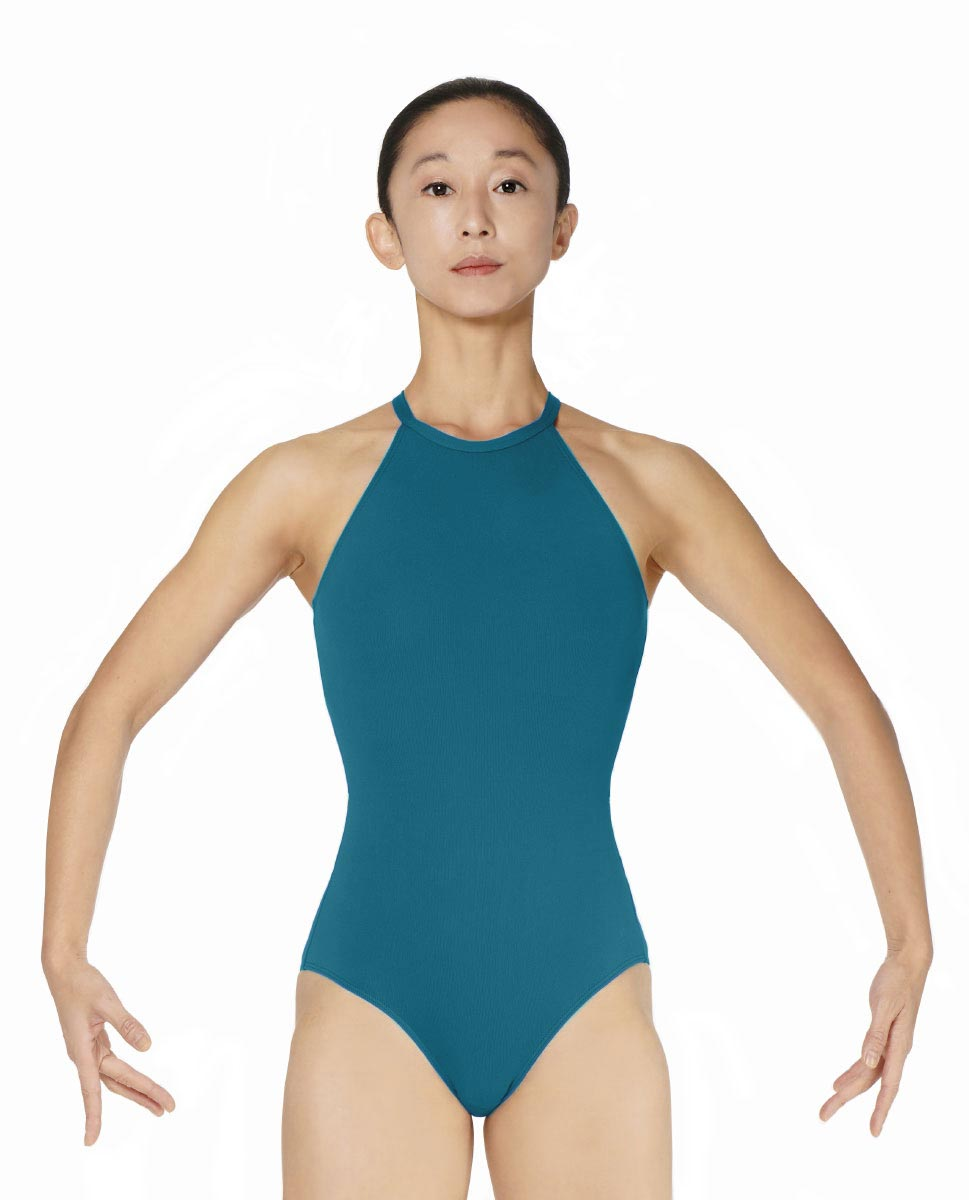 Halter Neck Microfiber Performance Leotard Ivana TEA