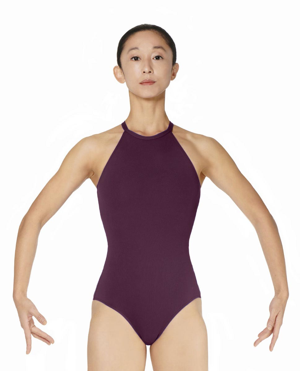 Halter Neck Microfiber Performance Leotard Ivana WINE