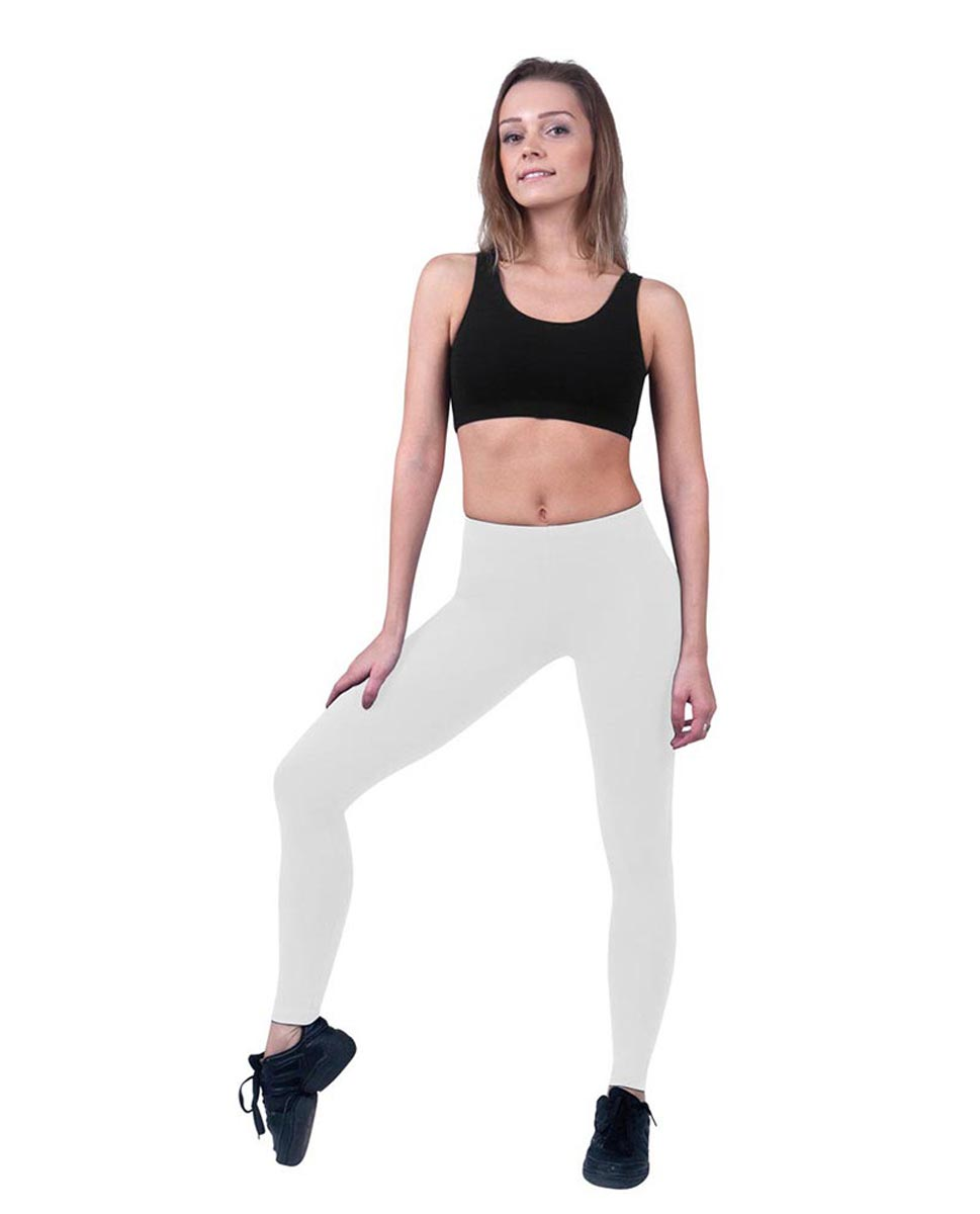 Brushed Cotton Ankle Dance Leggings Layla WHI