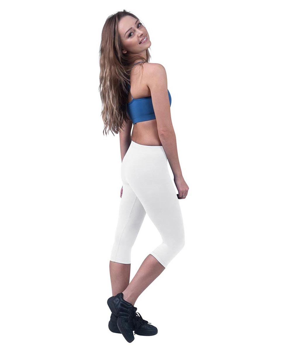 Brushed Cotton Capri Dance Leggings Rayna WHI