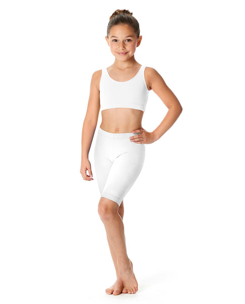 Girls Brushed Cotton Bike Shorts Trinity WHI