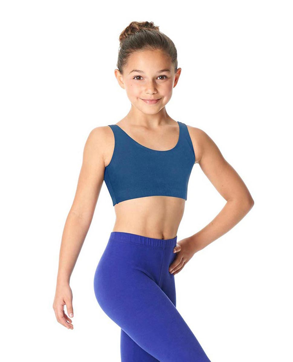 Girls Brushed Cotton Tank Dance Bra Beatrice BLUE