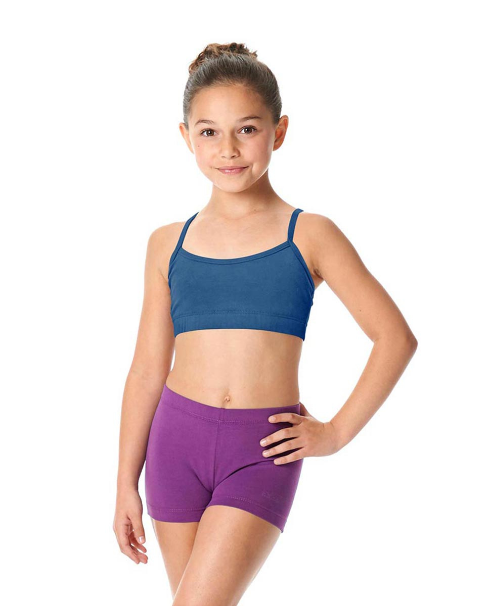 Girls Brushed Cotton Camisole Dance Bra Top Evelin BLUE