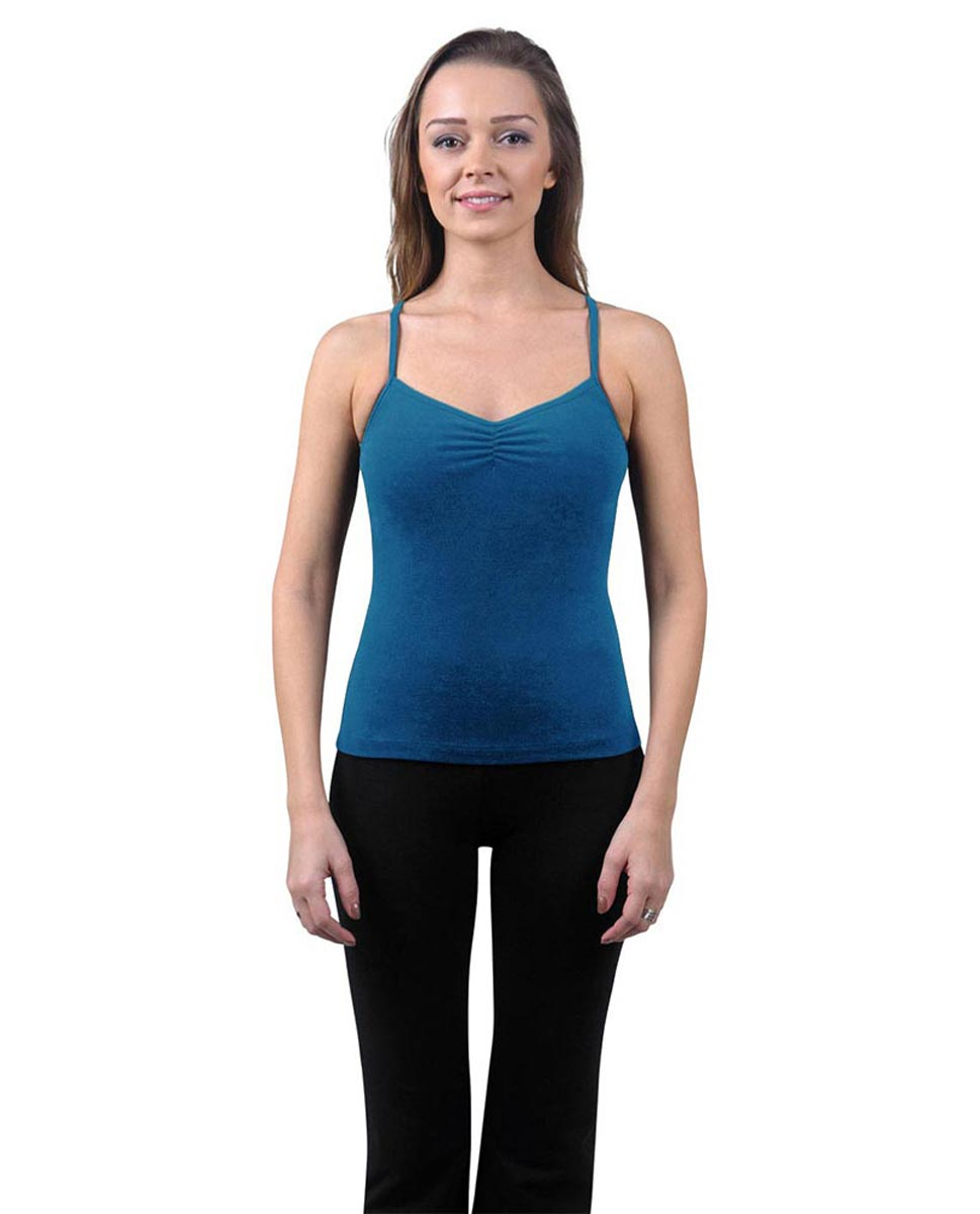 Brushed Cotton Pinched Front Camisole Dance Top Ursula BLUE