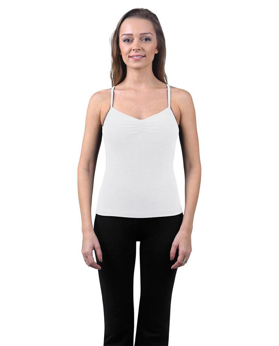 Brushed Cotton Pinched Front Camisole Dance Top Ursula WHI