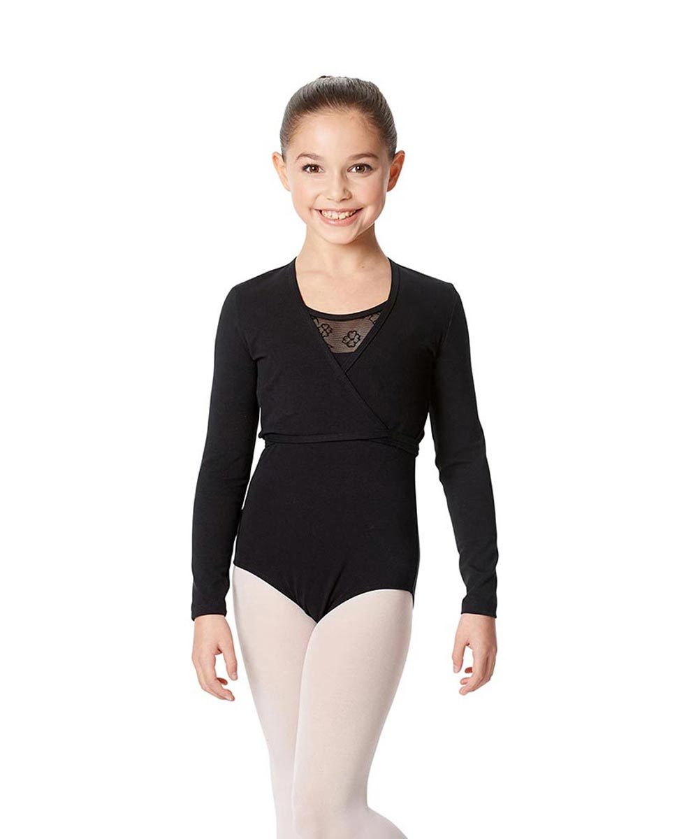 Children's Brushed Cotton Wrap Over Cardigan Arianna BLK