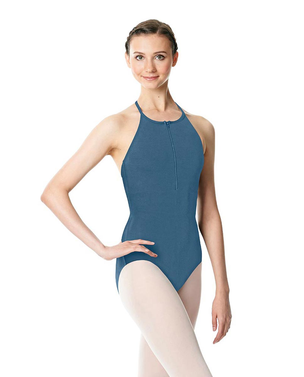 Hatler Neck Zipper Leotard Sarah BLUE