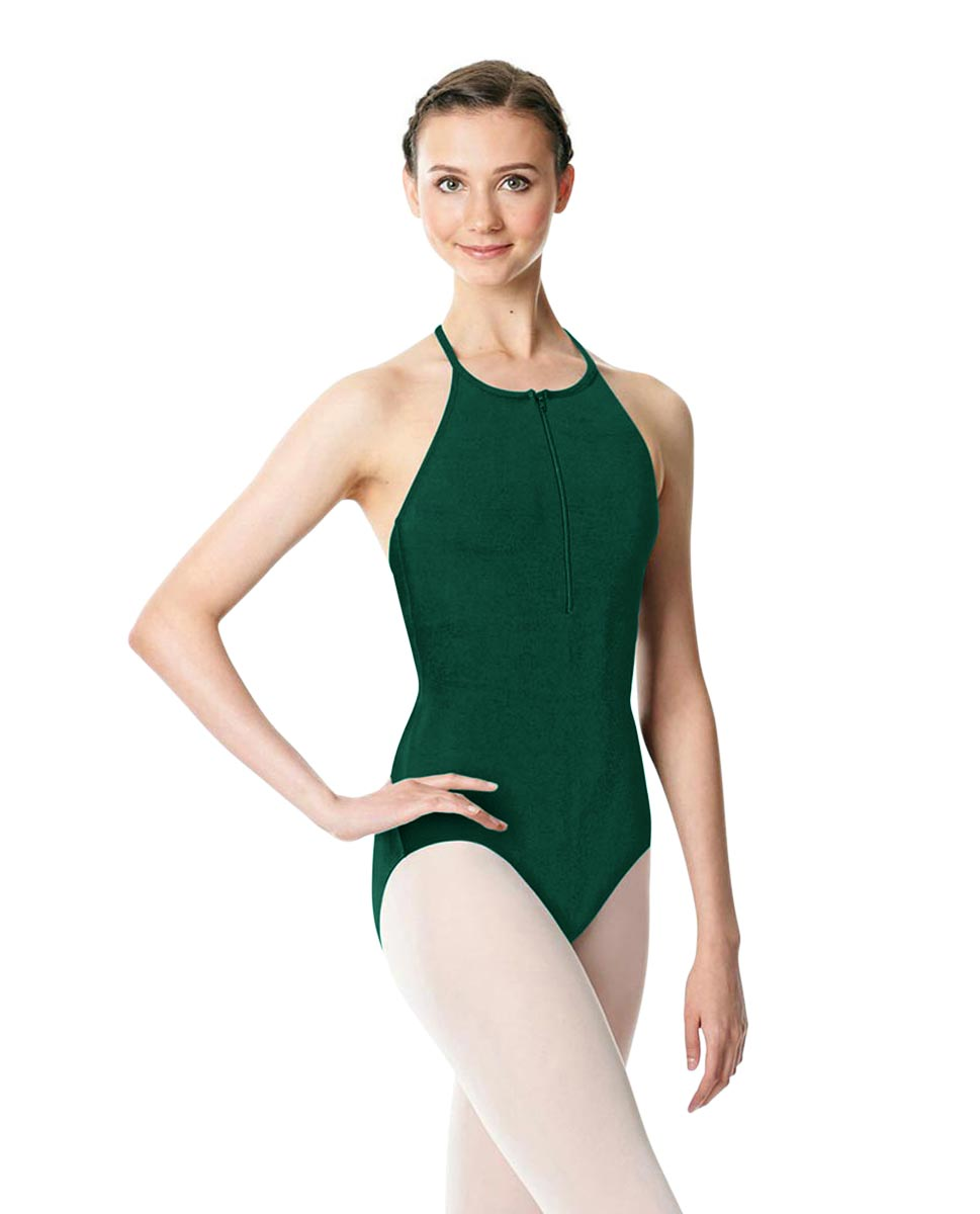 Hatler Neck Zipper Leotard Sarah DGREEN