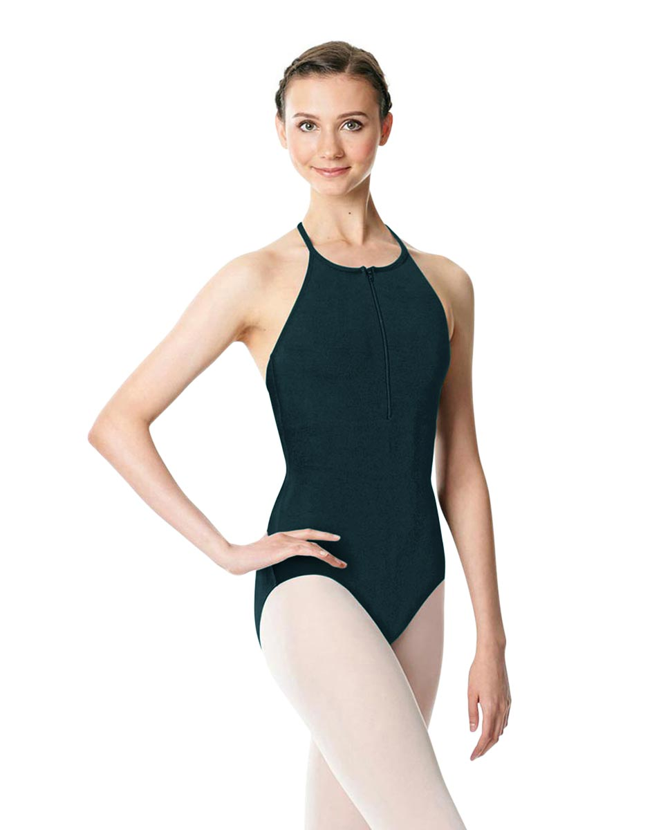 Hatler Neck Zipper Leotard Sarah DTEAL