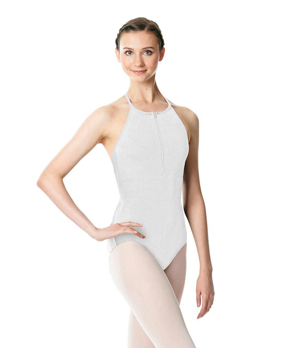 Hatler Neck Zipper Leotard Sarah WHI