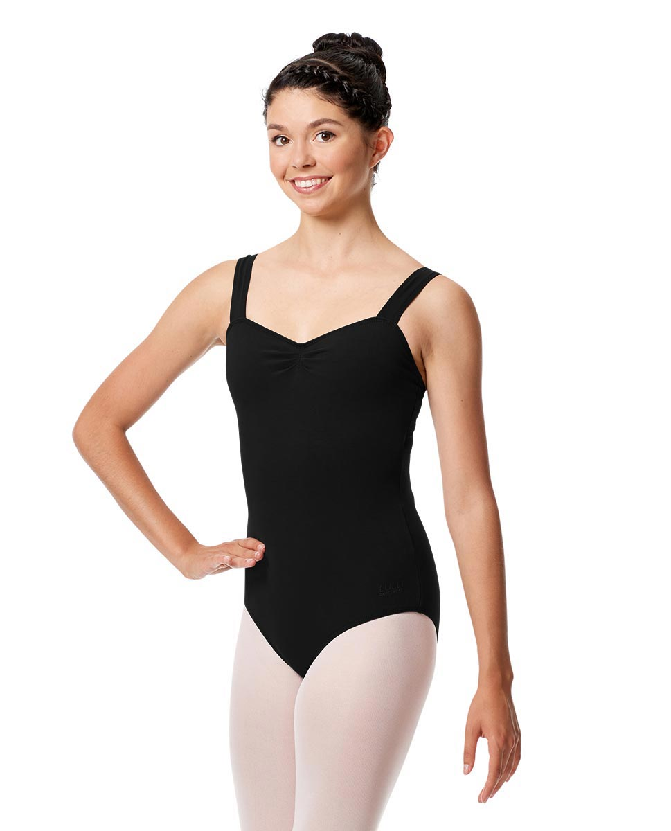 Pinch Front Leotard Constanza with Wide Straps BLK