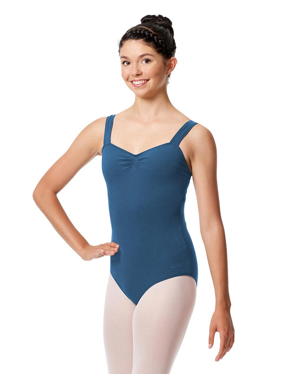Pinch Front Leotard Constanza with Wide Straps BLUE